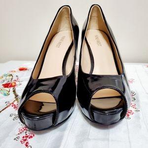 Nine West Patent Black Leather Peep Toe Heels